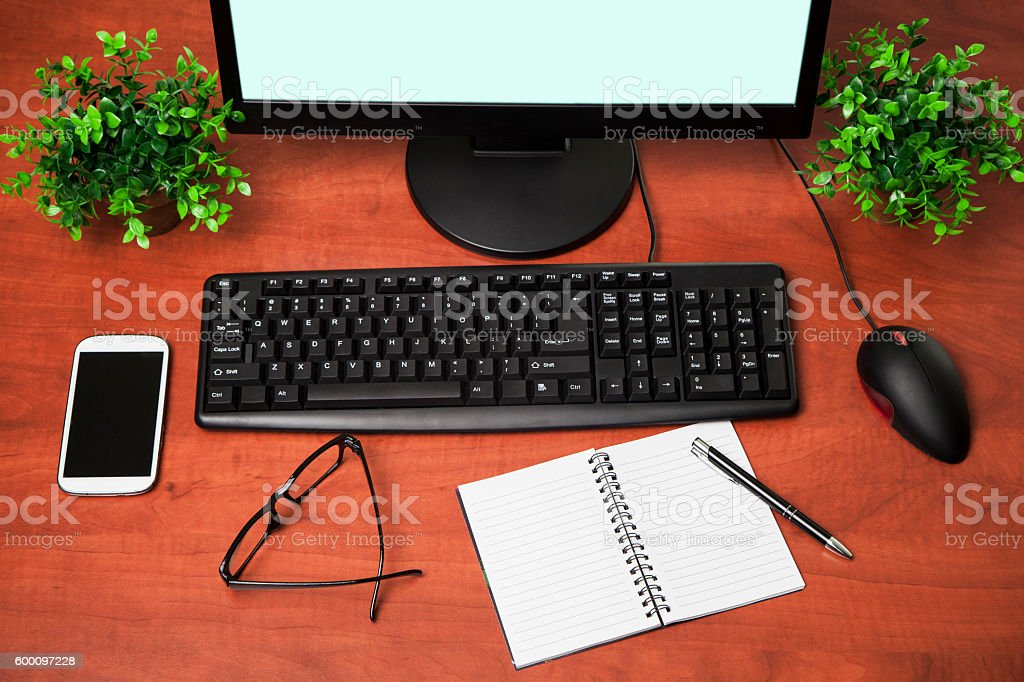 pc computer on  office table stock photo