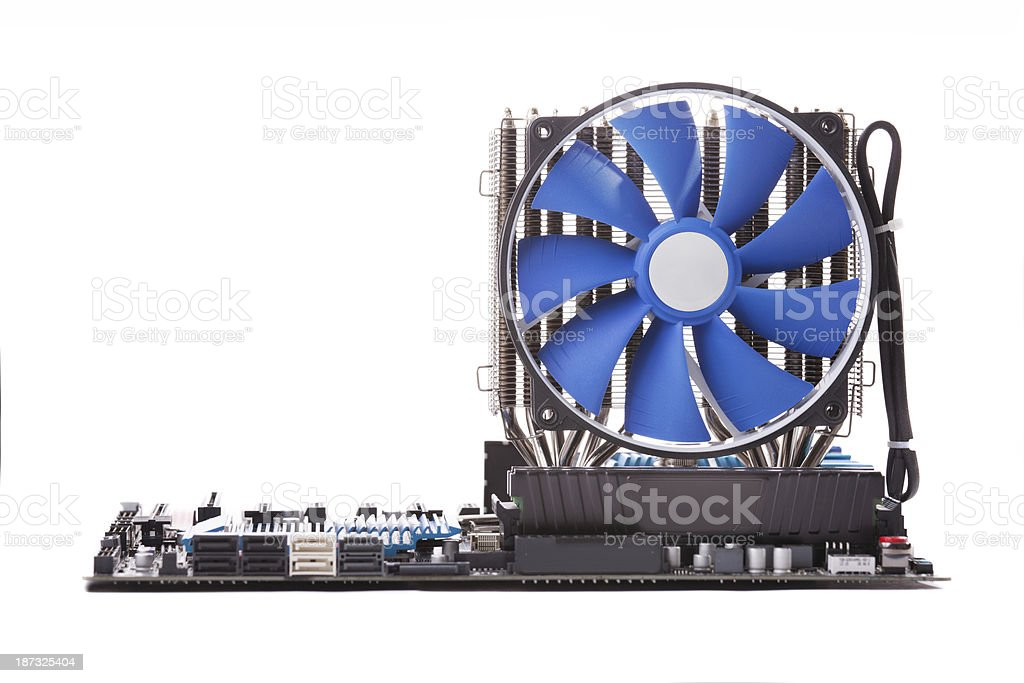 Pc motherboard with large fan cooling engine isolated stock photo