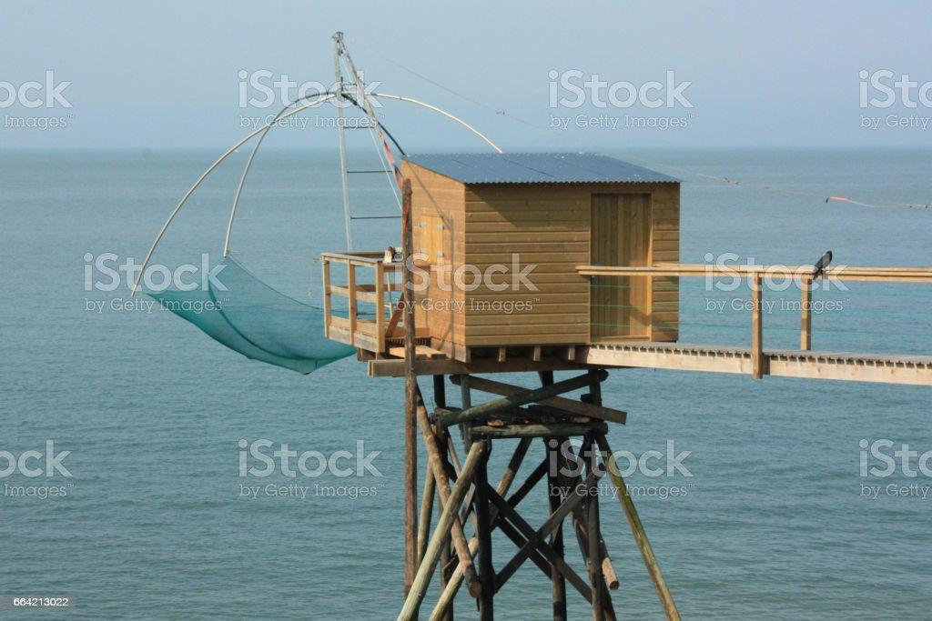 Pêche au carrelet en Loire-Atlantique stock photo