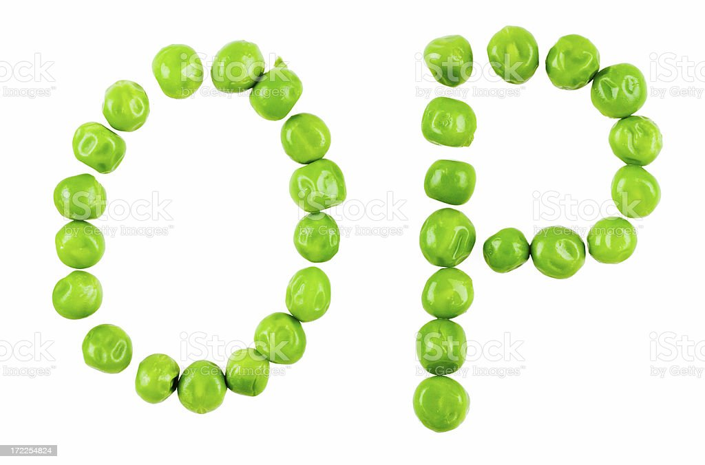 Pea alphabet: OP royalty-free stock photo
