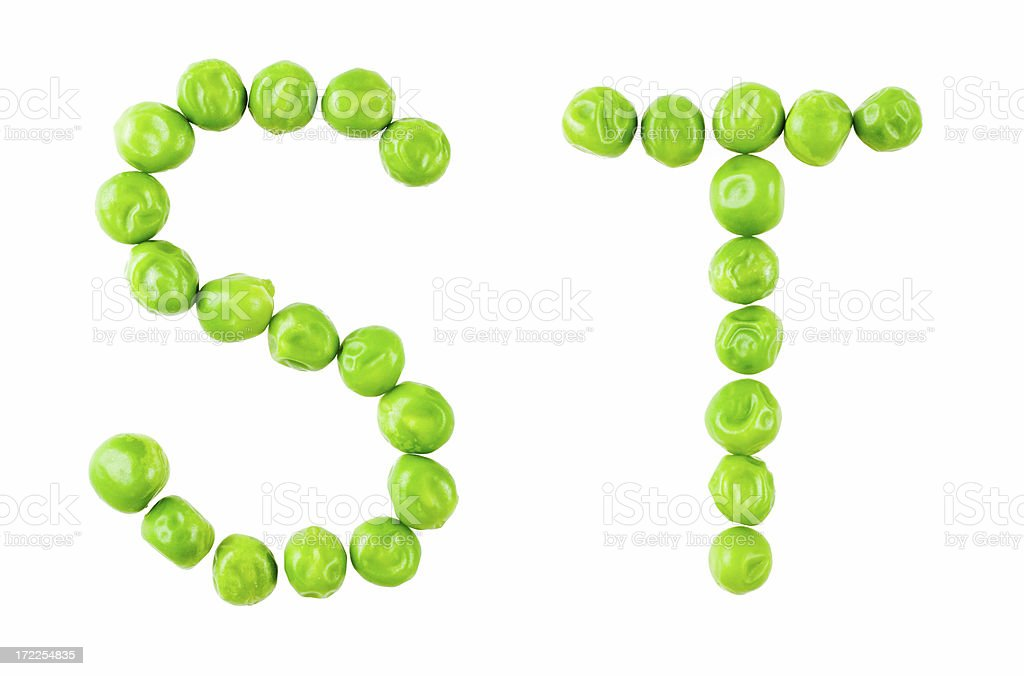 Pea alphabet: ST royalty-free stock photo
