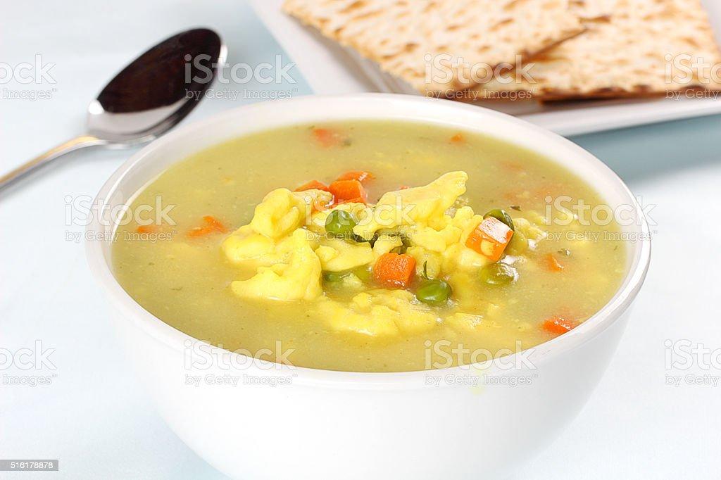 Pea and dumpling soup stock photo