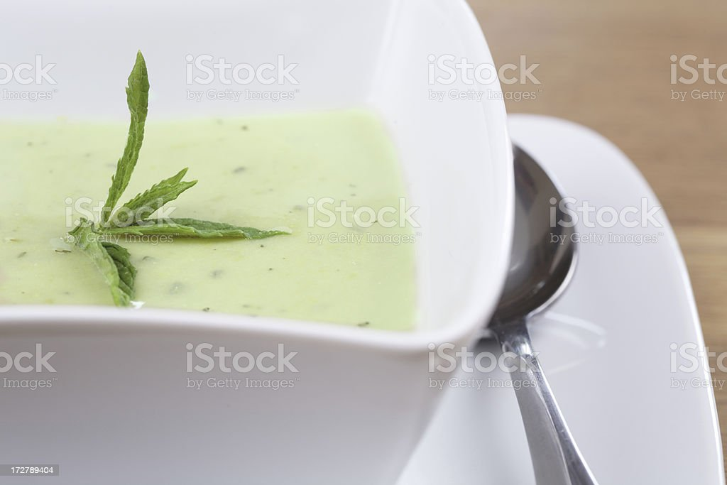 Pea and Mint Soup stock photo