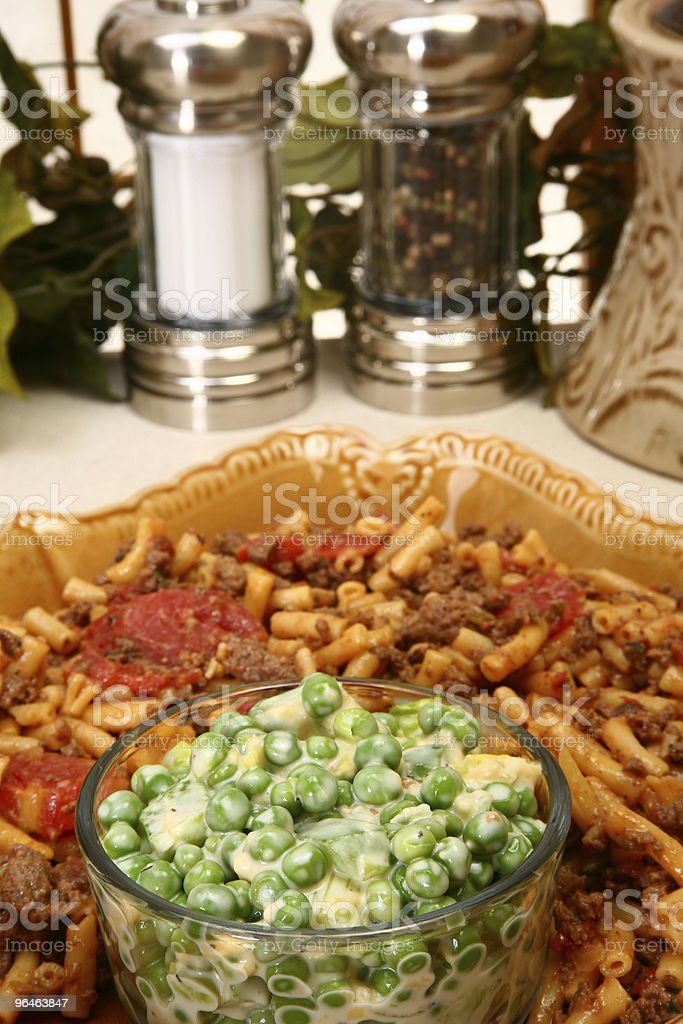 Pea Salad with Beef Macaroni royalty-free stock photo