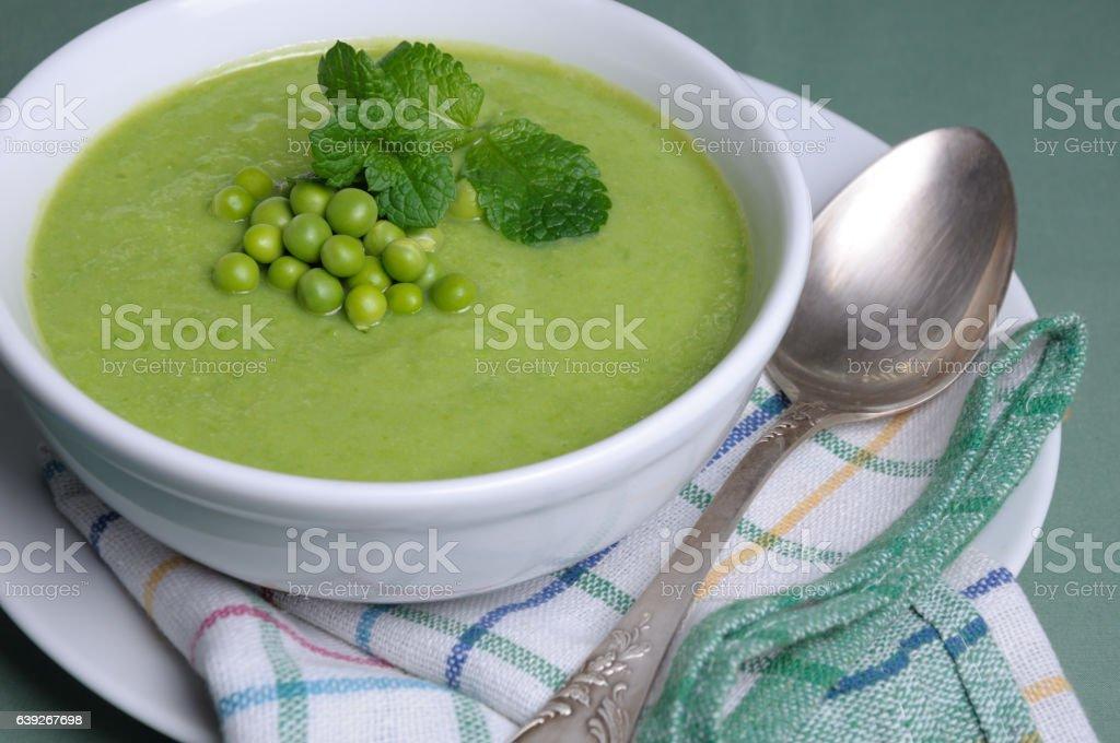 Pea soup puree stock photo