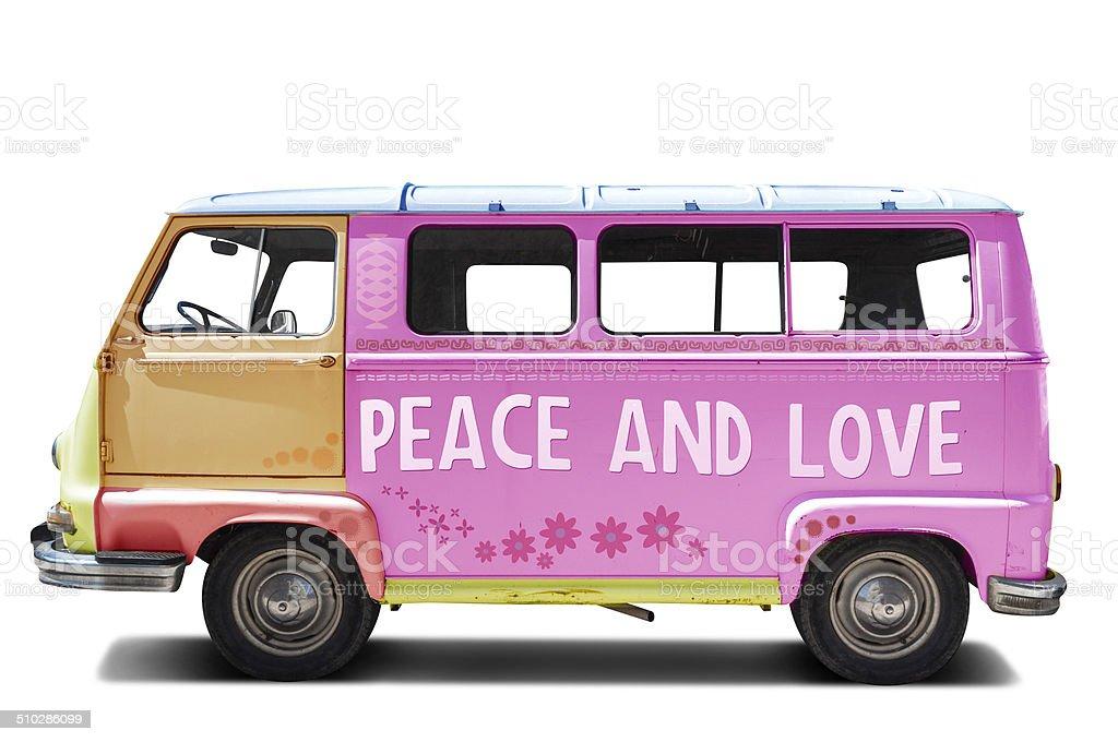 Peace and love hippie van stock photo