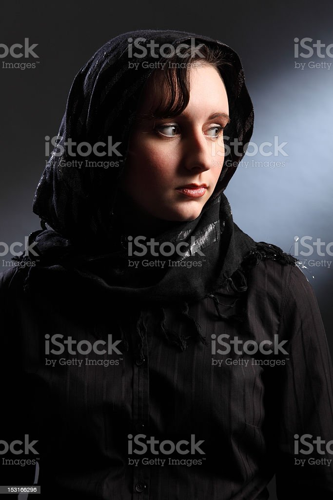 Peace and quiet for young religious woman in hijab stock photo