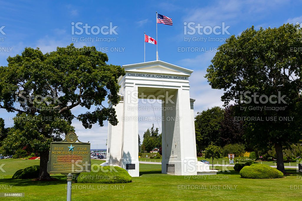 Peace Arch Park Washington State stock photo