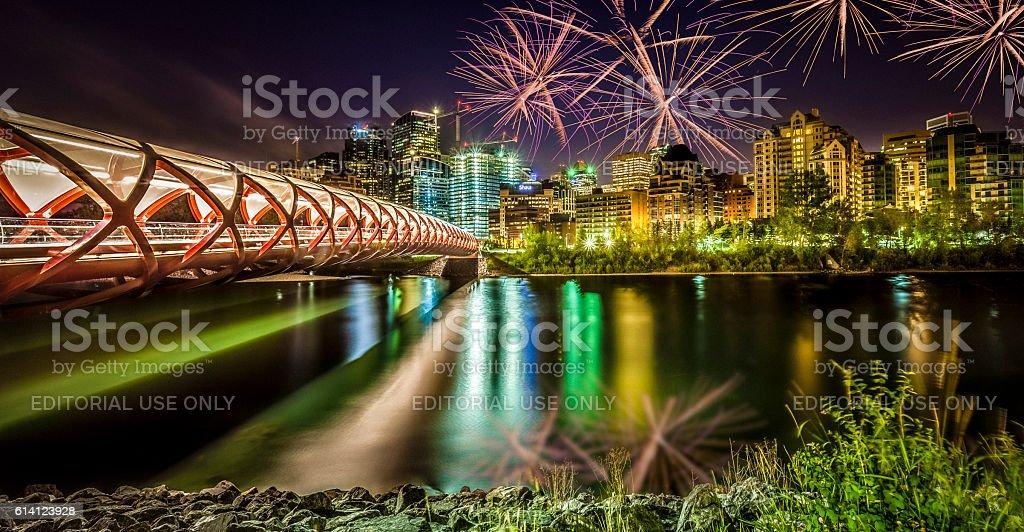 peace bridge calgary alberta stock photo