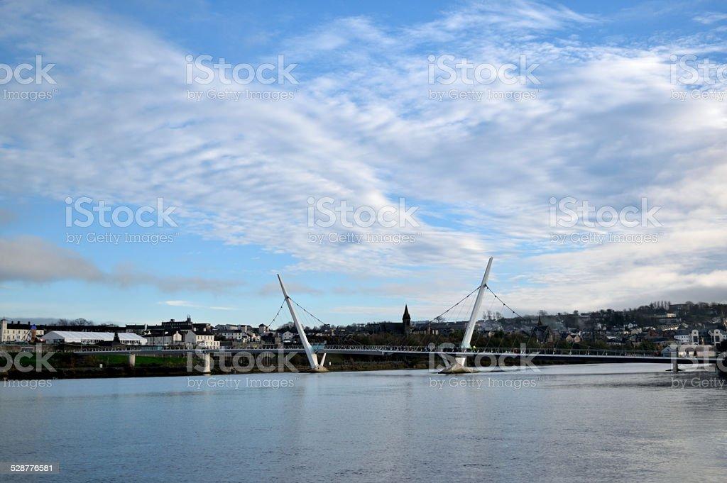 Peace Bridge in Derry, Northern Ireland. stock photo