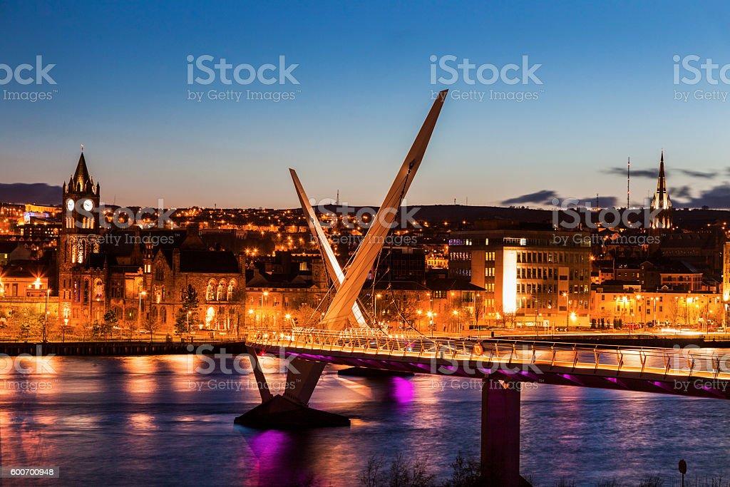 Peace Bridge in Derry stock photo