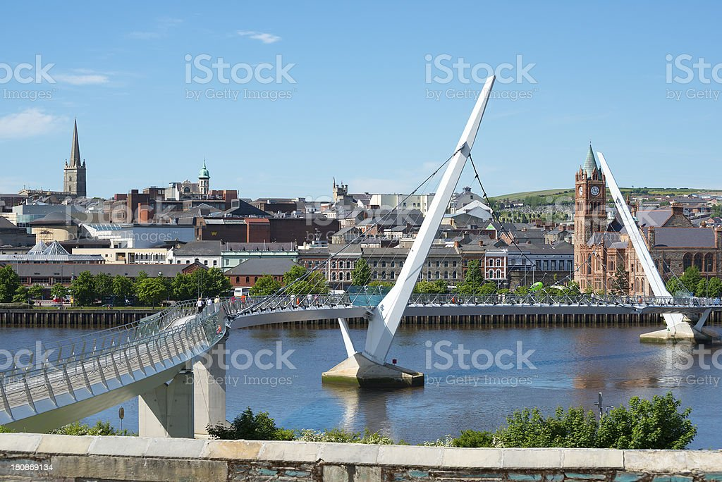 Peace Bridge over the River Foyle in Derry, Northern Ireland stock photo