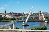 Peace Bridge over the River Foyle in Derry, Northern Ireland