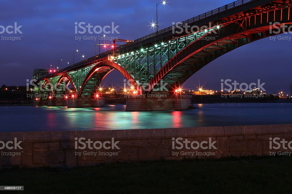 Peace Bridge with Red and Green Lights stock photo