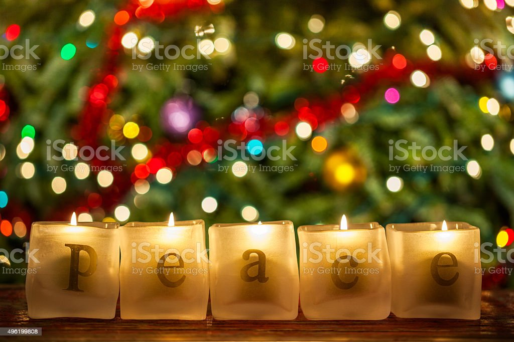 Peace Christmas Candles stock photo