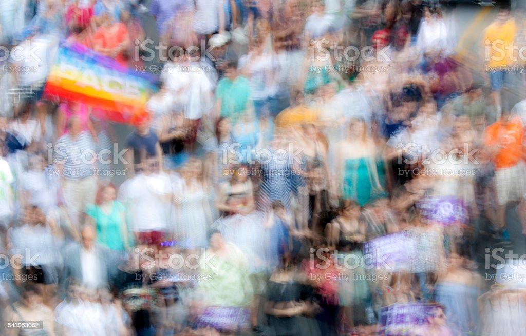 Peace day, in intentional motion blur stock photo