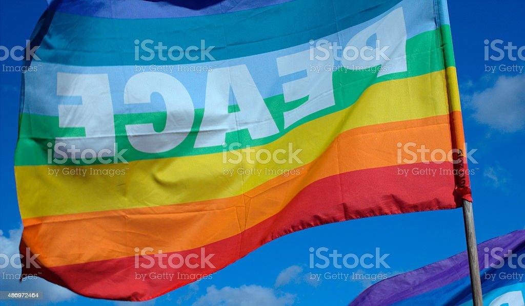 Peace flag floating stock photo