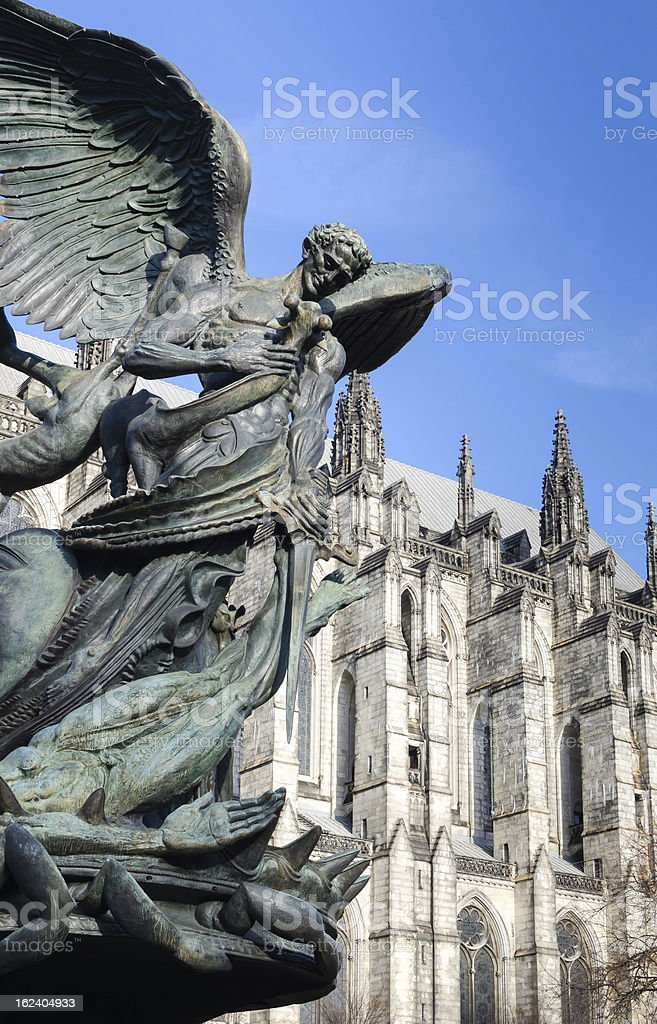 Peace Fountain Statue, and Cathedral of Saint John the Divine. stock photo