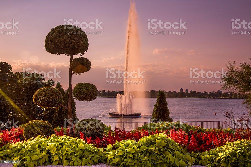 Peace Fountain, Windsor, Ontario, Canada stock photo