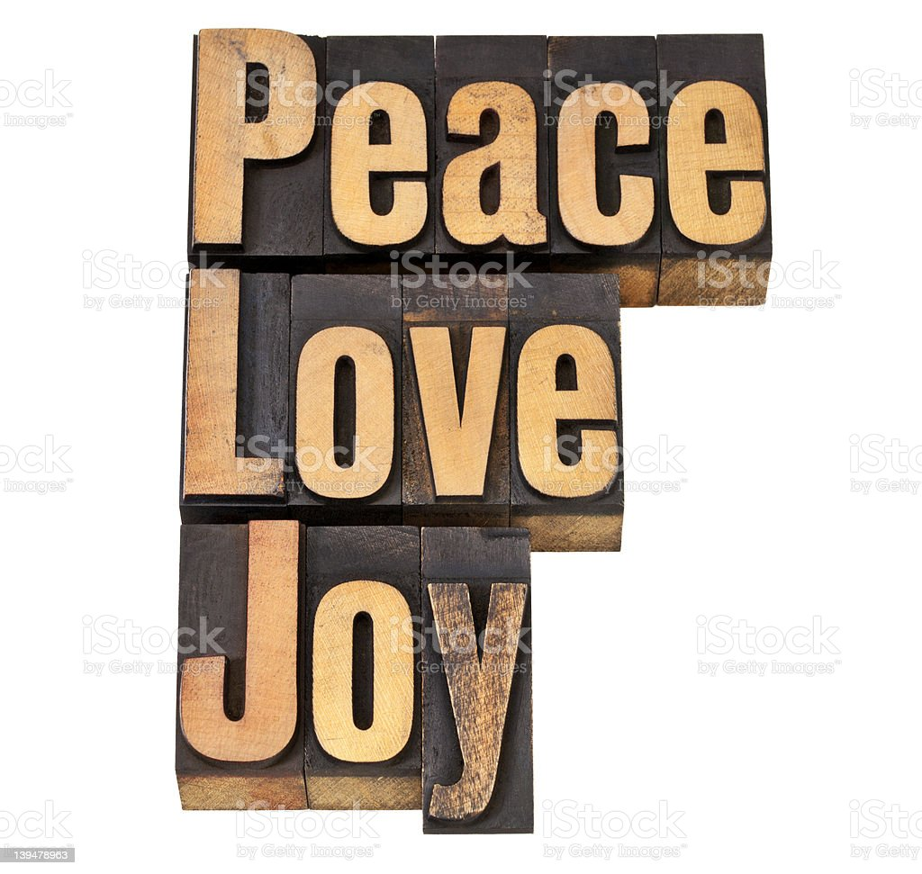 peace, love and joy in letterpress royalty-free stock photo