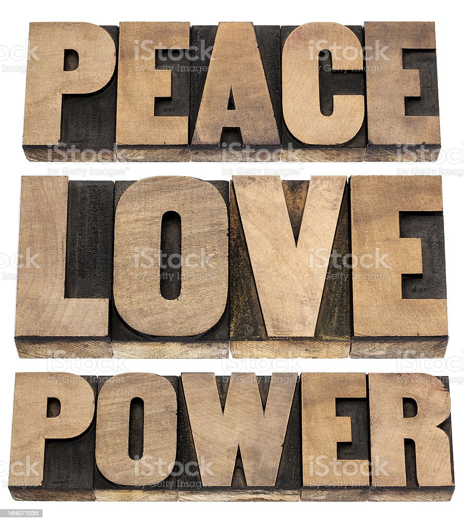 peace, love, power words royalty-free stock photo