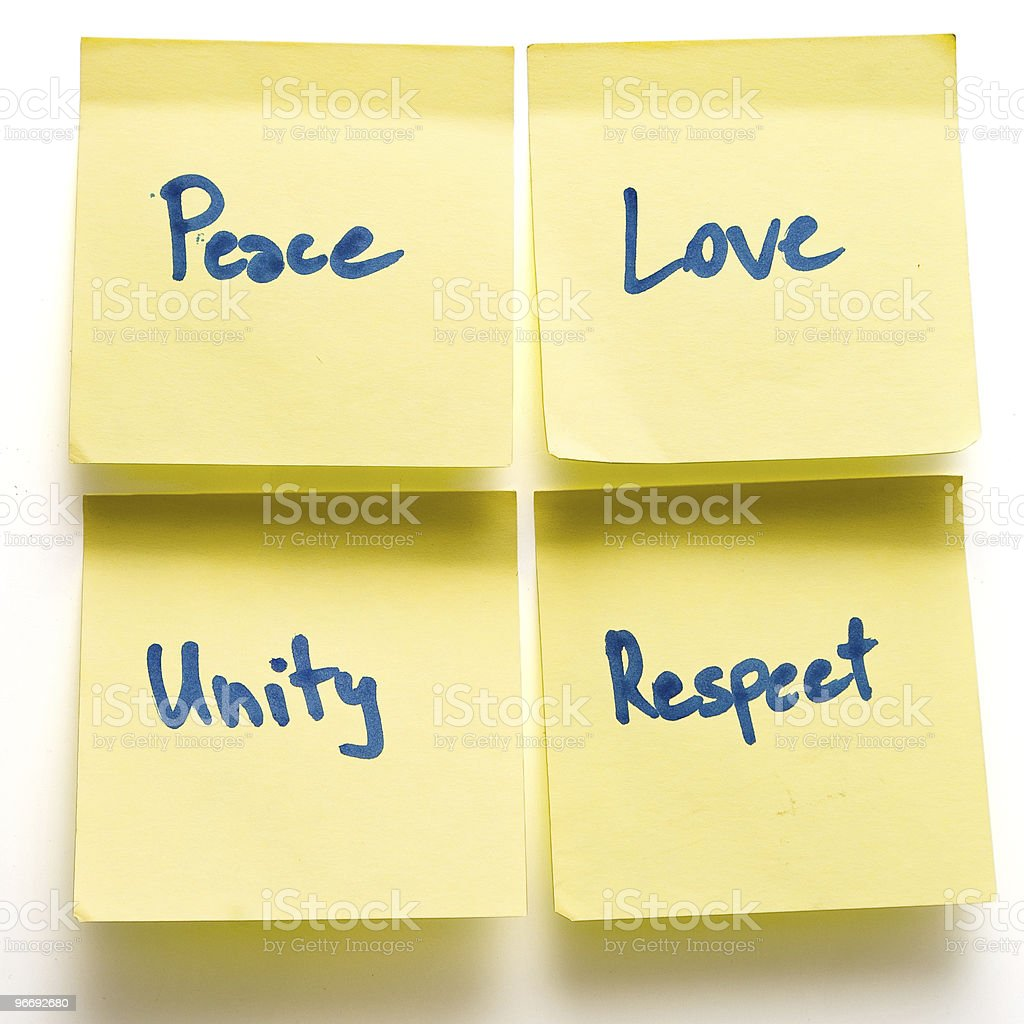 peace love unity respect yellow post-its on a board isolated royalty-free stock photo