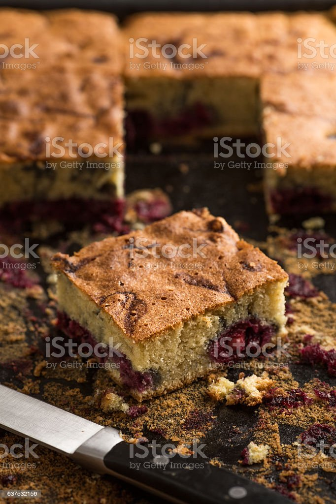 Peace of a cherry pie on a plate stock photo