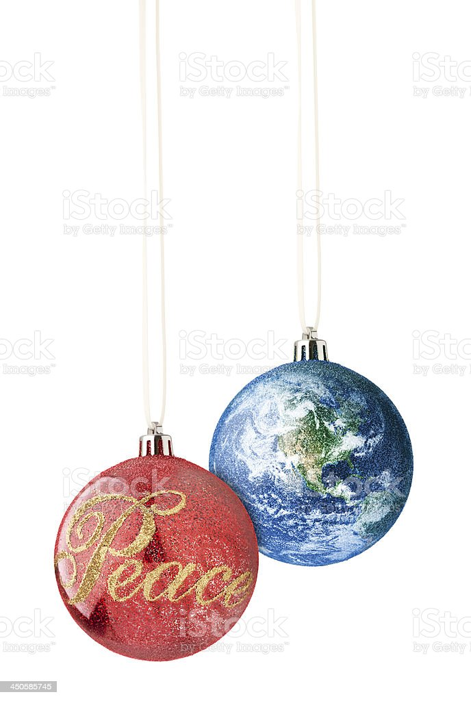 Peace on Earth Christmas Ornaments stock photo
