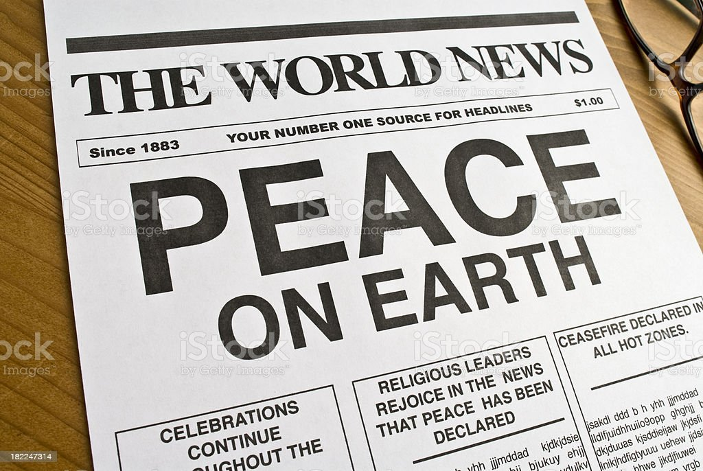 Peace On Earth Headline. royalty-free stock photo