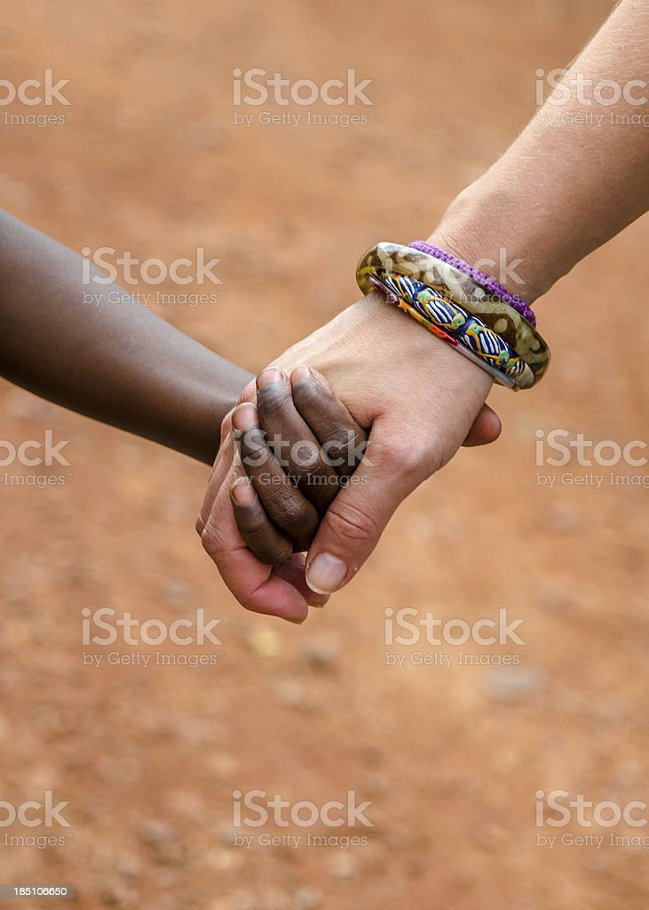 Peace on Earth Symbol - Holding Africa in the Hands royalty-free stock photo