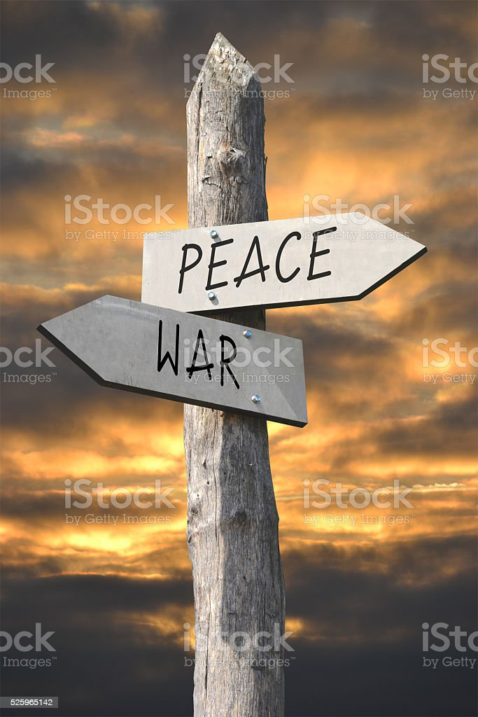 Peace or war concept stock photo