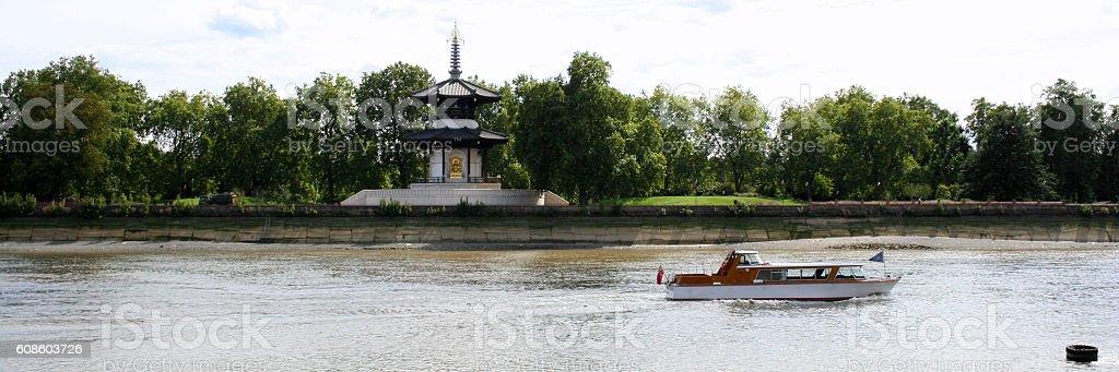 Peace Pagoda in Battersea Park, London stock photo