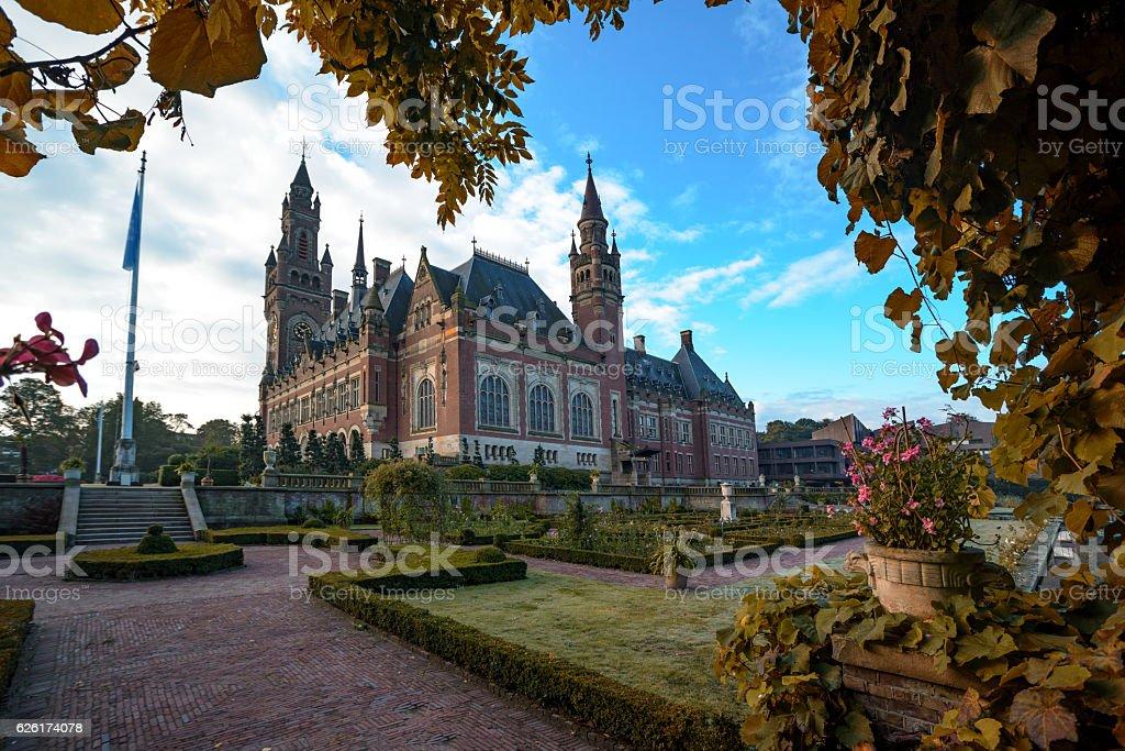 Peace Palace in Autumn Season stock photo