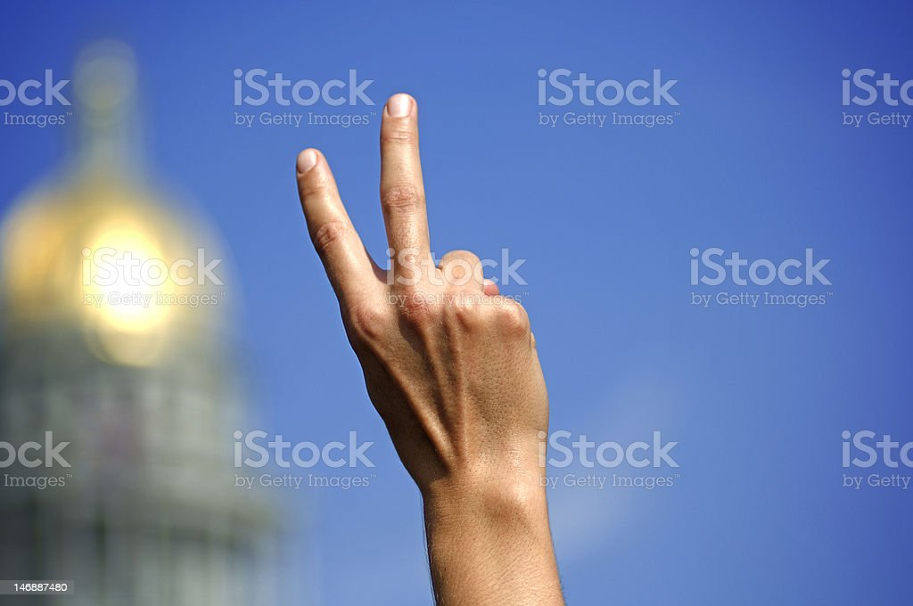 Peace Sign by Capitol Building stock photo