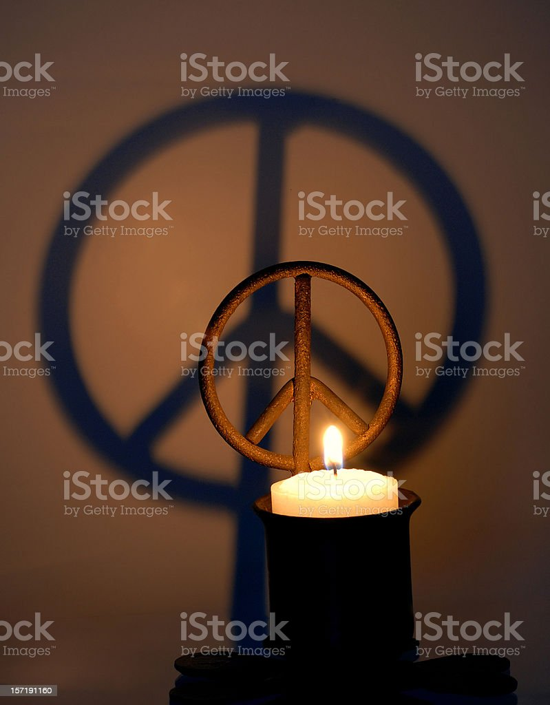 Peace Sign Candle stock photo