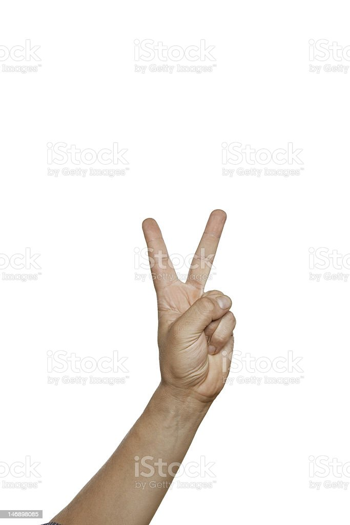 peace sign, NR 2  isolated on white victory royalty-free stock photo