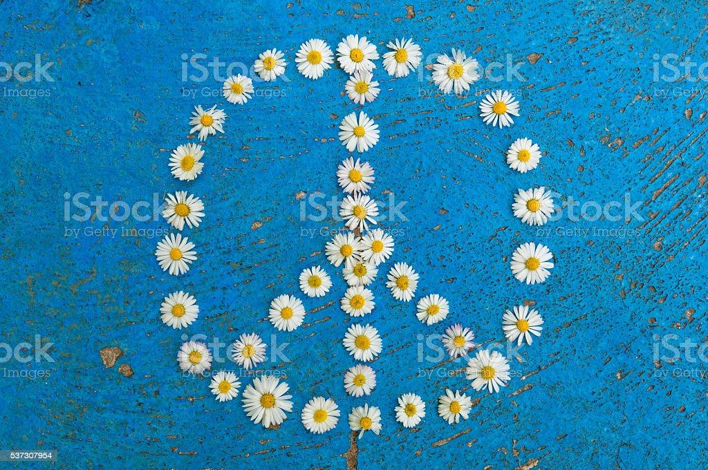 Peace sign peace symbol peace design on blue background stock photo