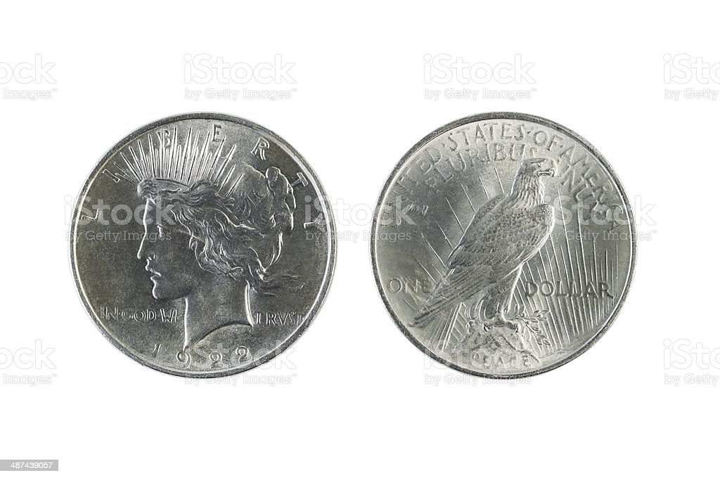 Peace Silver Dollars on White stock photo