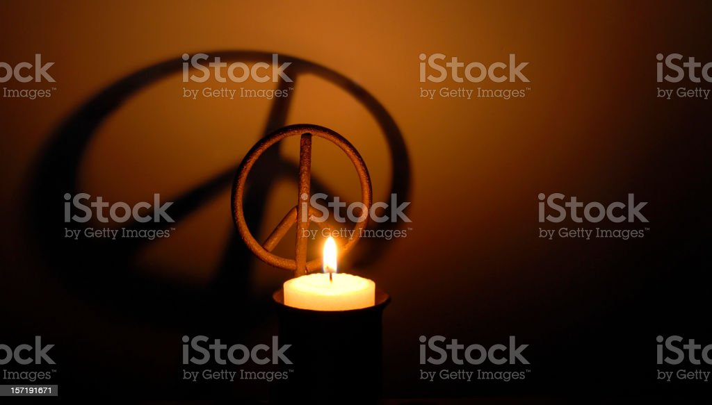 Peace Symbol Candle stock photo
