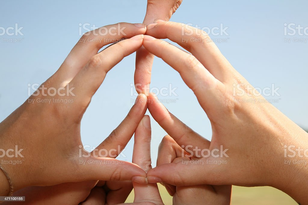 Peace Symbol Made With Human Hands. royalty-free stock photo
