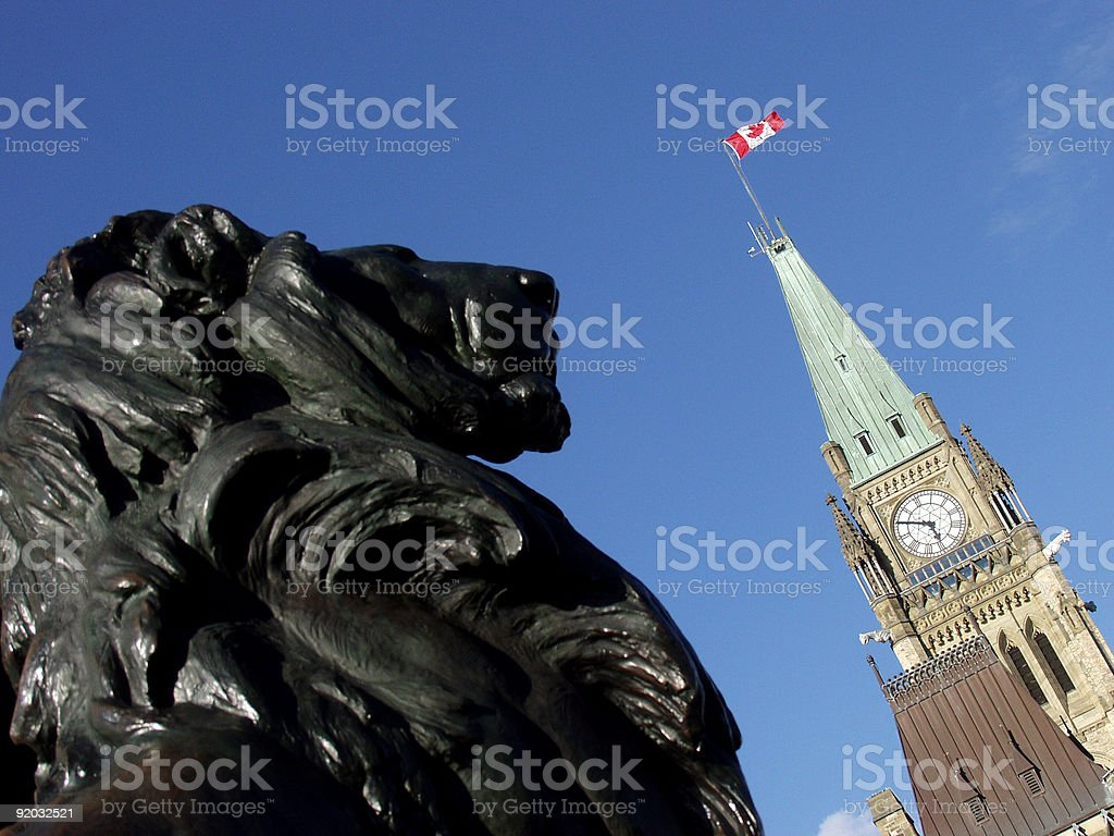 Peace Tower and Lion stock photo