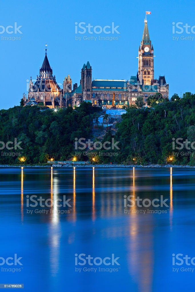 Peace Tower and Parliament Building in Ottawa stock photo