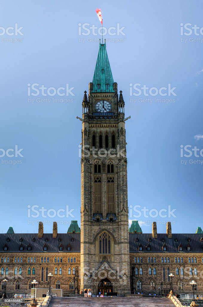 Peace Tower of the Parliament Buildings, Ottawa, Canada stock photo