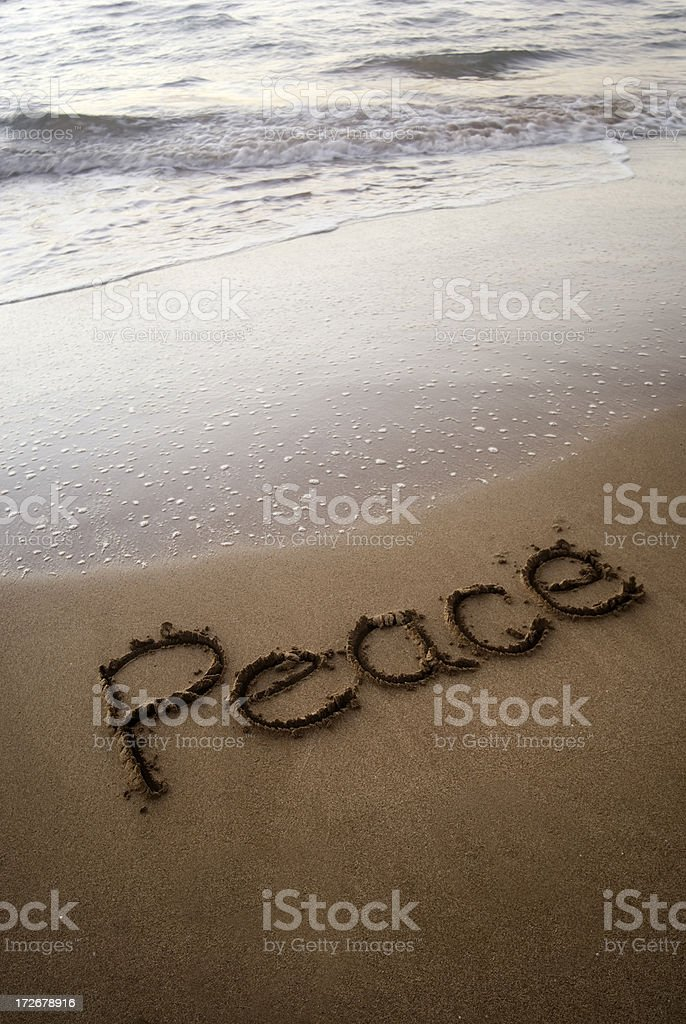 Peace Written In The Sand royalty-free stock photo