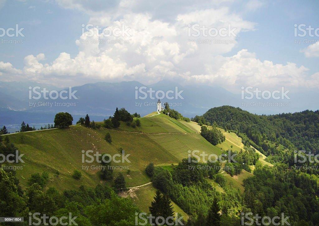 peaceful alpine chapel royalty-free stock photo