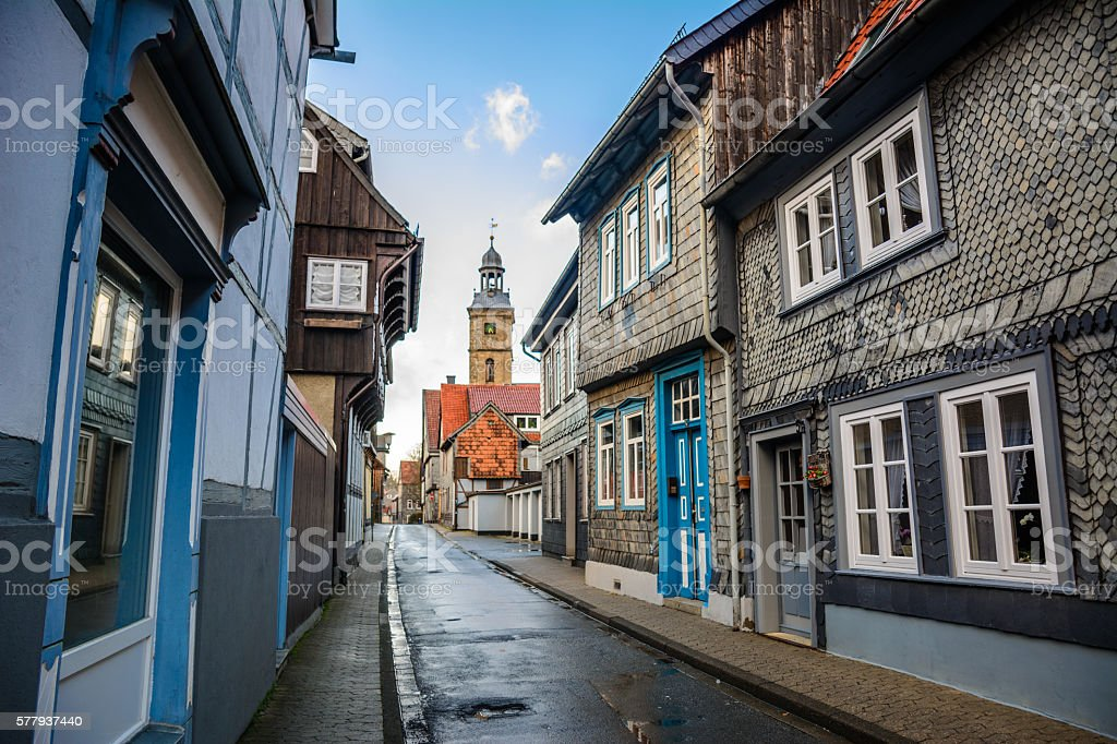 peaceful at goslar village in germany stock photo