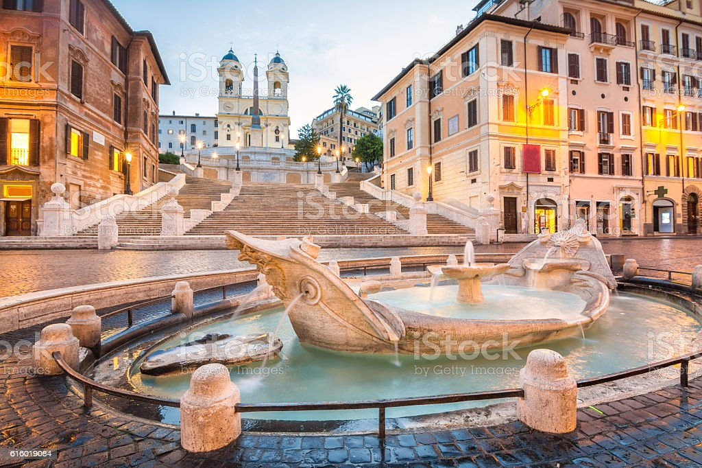 peaceful at piazza de spagna in rome stock photo