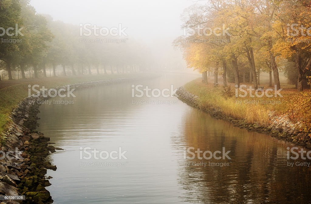 Peaceful autumn landscape in mist. stock photo