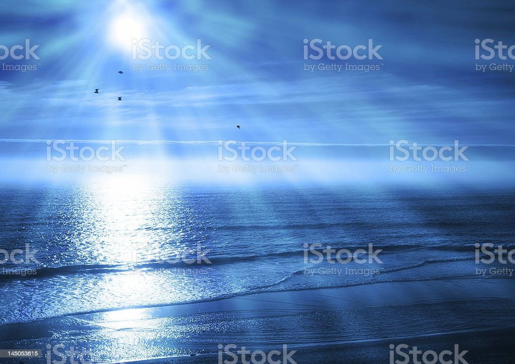 Peaceful Blue Ocean Sunset royalty-free stock photo