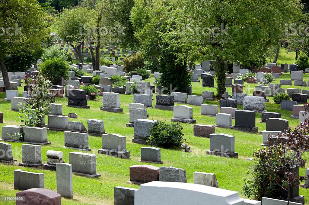 A peaceful cemetery in Montreal on a nice day stock photo